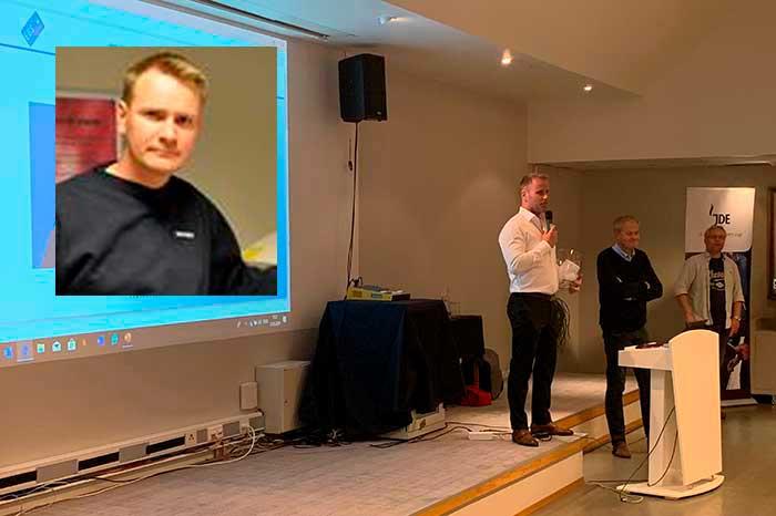 Jan Terje Stokseth presenterer vinner av Nayax konkurransen som ble Frederic Garner fra Solhuset.